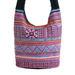 Cotton shoulder bag, 'Ethnic Festival'