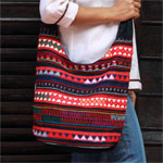 Cotton shoulder bag, 'Tribal Night'