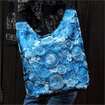 Cotton and polyester shoulder bag, 'Floral Theory'