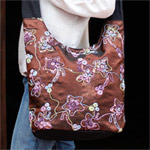 Cotton and polyester shoulder bag, 'Abstract Garden'