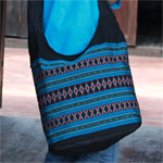 Cotton shoulder bag, 'Blue Diamond'