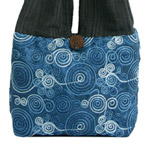 Cotton and polyester shoulder bag, 'Floral Theory' (small)
