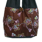 Cotton and polyester shoulder bag, 'Abstract Garden' (small)