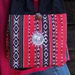 Cotton shoulder bag, 'Red Meadow'