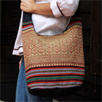 Cotton shoulder bag, 'Naka Heritage'