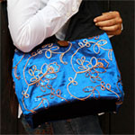 Cotton and polyester shoulder bag, 'Blue Flowers' (small)