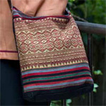 Cotton and leather shoulder bag, 'Diamond River'