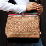 Cotton shoulder bag, 'Naka Land'