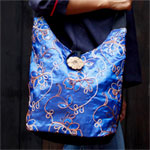 Shoulder bag, 'Blue Flowers'