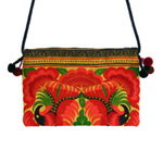 Cotton shoulder bag, 'Red Birds'