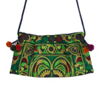 Cotton shoulder bag, 'Green Spirit'