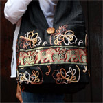 Cotton and polyester shoulder bag, 'Gold Elephants'