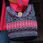 Cotton shoulder bag, 'Pink River'