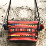 Cotton shoulder bag, 'Ruby Geode'