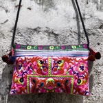 Cotton shoulder bag, 'Pink Birds'