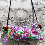 Cotton shoulder bag, 'Thai Birds'