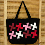 Cotton shoulder bag, 'Red Children'