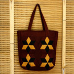 Cotton shoulder bag, 'Payao Stars'