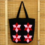Cotton shoulder bag, 'Lamphun Stars'