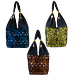 Cotton and polyester shoulder bag, 'Mini Trio' (set of 3)