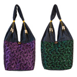 Cotton and polyester shoulder bag, 'Tadpoles' (set of 2)