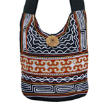 Cotton shoulder bag, 'Brown River'