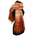 Rayon and silk scarf, 'Diurnal Dragonflies'