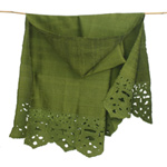 Embroidered silk shawl, 'Sweet Message'