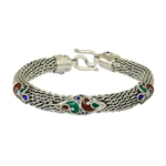 Sterling silver bracelet, 'Colors of Romance'