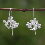 Sterling silver dangle earrings, 'Exotic Daisies'