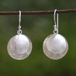 Sterling silver dangle earrings, 'Floral Buttons'
