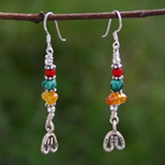 Turquoise and amber earrings, 'Karen Colors'