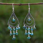 Sterling silver chandelier earrings, 'Turquoise Shower'