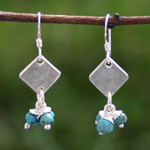 Silver and turquoise earrings, 'Azure Clusters'