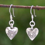 Sterling silver dangle earrings, 'Romantic Story'