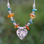 Silver and amber necklace, 'Love Glow'