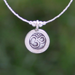 Sterling silver dangle earrings, 'Om'