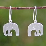 Sterling silver dangle earrings, 'Elephant Siesta'