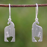 Sterling silver dangle earrings, 'Happiness and Luck'
