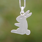 Sterling silver pendant necklace, 'Lucky Rabbit'