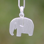 Sterling silver pendant necklace, 'White Elephant'