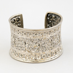 Sterling silver cuff bracelet, 'Flower Song'