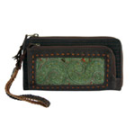 Leather and cotton wallet, 'Forest Melody'