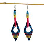 Kapok wood earrings, 'Cheerful Day'