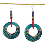 Kapok wood earrings, 'Blue Moons'