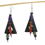 Tourmaline and wood earrings, 'Soul Windows'