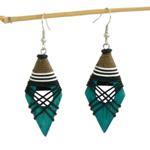 Kapok wood earrings, 'Green Goddess'