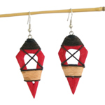 Kapok wood earrings, 'Pink Muse'