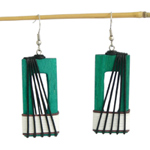 Kapok wood earrings, 'Vegetal Bridge'