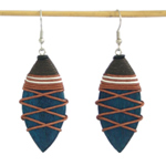 Kapok wood earrings, 'Blue Tears'